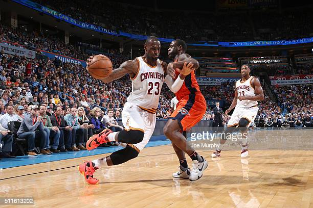 LeBron James of the Cleveland Cavaliers drives to the basket against the Oklahoma City Thunder on February 21 2016 at Chesapeake Energy Arena in...