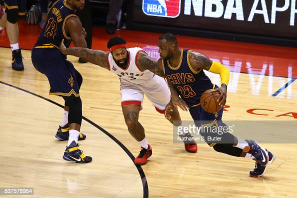 LeBron James of the Cleveland Cavaliers drives to the basket against the Toronto Raptors during Game Six of the NBA Eastern Conference Finals at Air...