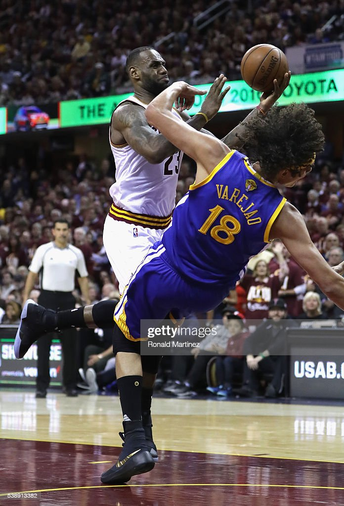 <a gi-track='captionPersonalityLinkClicked' href=/galleries/search?phrase=LeBron+James&family=editorial&specificpeople=201474 ng-click='$event.stopPropagation()'>LeBron James</a> #23 of the Cleveland Cavaliers drives to the basket against <a gi-track='captionPersonalityLinkClicked' href=/galleries/search?phrase=Anderson+Varejao&family=editorial&specificpeople=202247 ng-click='$event.stopPropagation()'>Anderson Varejao</a> #18 of the Golden State Warriors during the second half in Game 3 of the 2016 NBA Finals at Quicken Loans Arena on June 8, 2016 in Cleveland, Ohio.