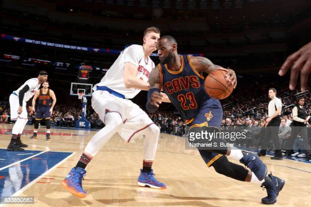 LeBron James of the Cleveland Cavaliers drives to the basket against the New York Knicks on February 4 2017 at Madison Square Garden in New York City...