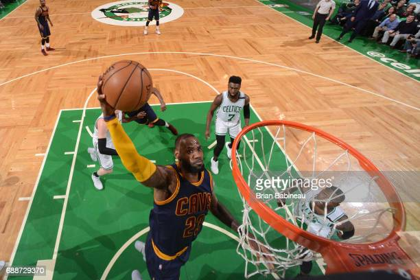 LeBron James of the Cleveland Cavaliers drives to the basket against the Boston Celtics in Game Five of the Eastern Conference Finals of the 2017 NBA...