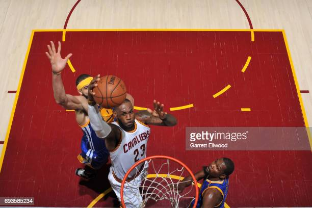 LeBron James of the Cleveland Cavaliers drives to the basket against the Golden State Warriors in Game Three of the 2017 NBA Finals on June 7 2017 at...