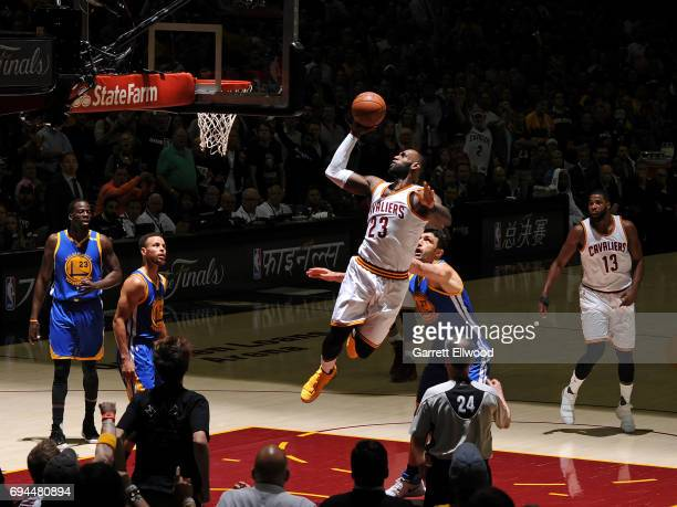 LeBron James of the Cleveland Cavaliers drives to the basket against the Golden State Warriors in Game Four of the 2017 NBA Finals on June 9 2017 at...