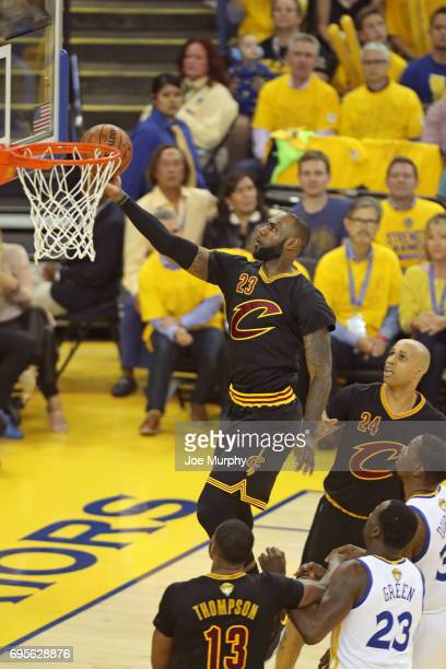 LeBron James of the Cleveland Cavaliers drives to the basket against the Golden State Warriors in Game Five of the 2017 NBA Finals on June 12 2017 at...