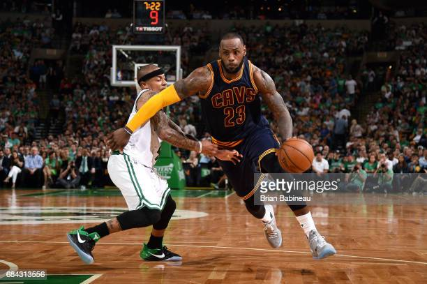 LeBron James of the Cleveland Cavaliers drives to the basket during the game against the Boston Celtics during Game One of the Eastern Conference...