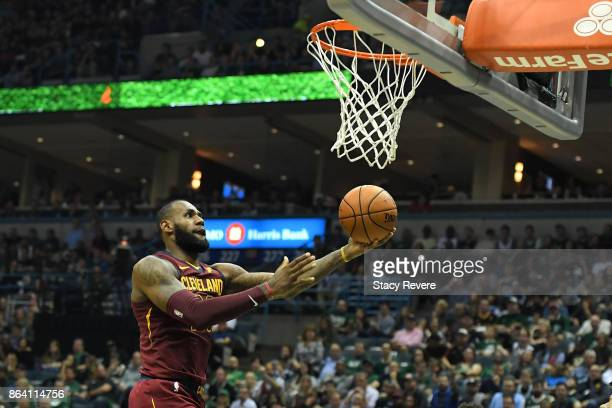 LeBron James of the Cleveland Cavaliers drives to the basket during the second half of a game against the Milwaukee Bucks at the Bradley Center on...