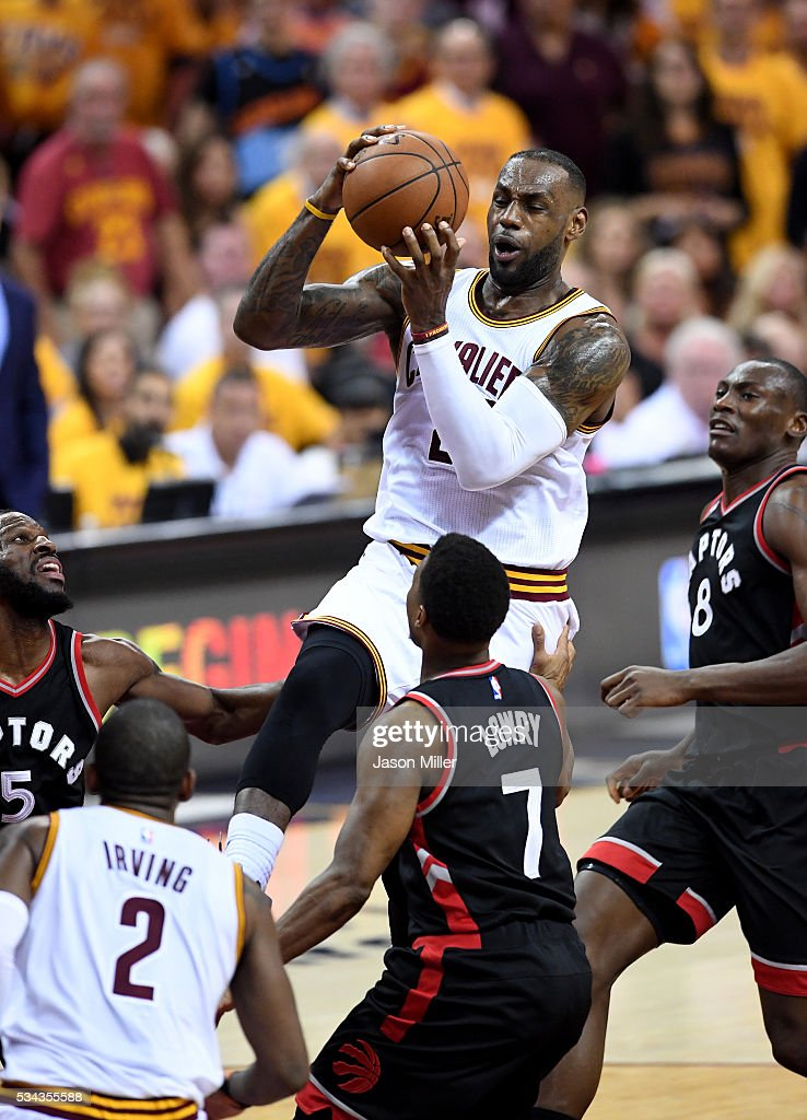 <a gi-track='captionPersonalityLinkClicked' href=/galleries/search?phrase=LeBron+James&family=editorial&specificpeople=201474 ng-click='$event.stopPropagation()'>LeBron James</a> #23 of the Cleveland Cavaliers drives to the basket in the second quarter against the Toronto Raptors in game five of the Eastern Conference Finals during the 2016 NBA Playoffs at Quicken Loans Arena on May 25, 2016 in Cleveland, Ohio.