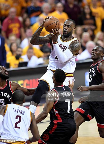 LeBron James of the Cleveland Cavaliers drives to the basket in the second quarter against the Toronto Raptors in game five of the Eastern Conference...