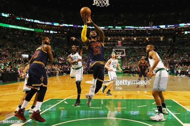 LeBron James of the Cleveland Cavaliers drives to the basket in the first half against the Boston Celtics during Game Five of the 2017 NBA Eastern...
