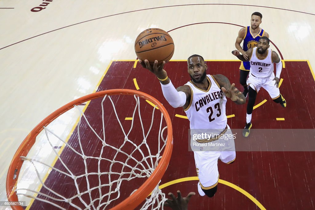 LeBron James #23 of the Cleveland Cavaliers drives to the basket in the first quarter against the Golden State Warriors in Game 3 of the 2017 NBA Finals at Quicken Loans Arena on June 7, 2017 in Cleveland, Ohio.