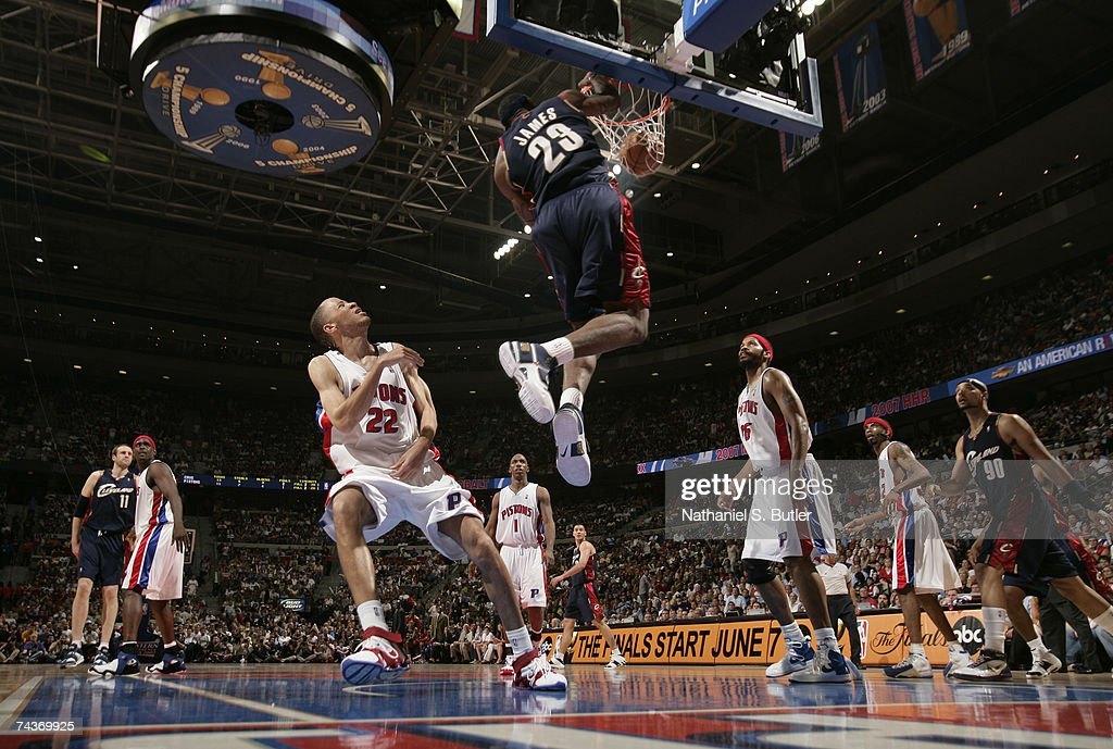 LeBron James of the Cleveland Cavaliers dunks against Tayshaun Prince of the Detroit Pistons in Game Five of the Eastern Conference Finals during the...