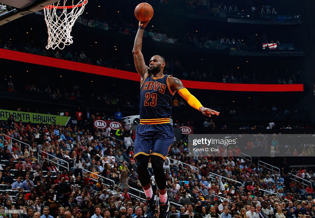 LeBron James of the Cleveland Cavaliers dunks against the Atlanta Hawks at Philips Arena on April 1 2016 in Atlanta Georgia NOTE TO USER User...