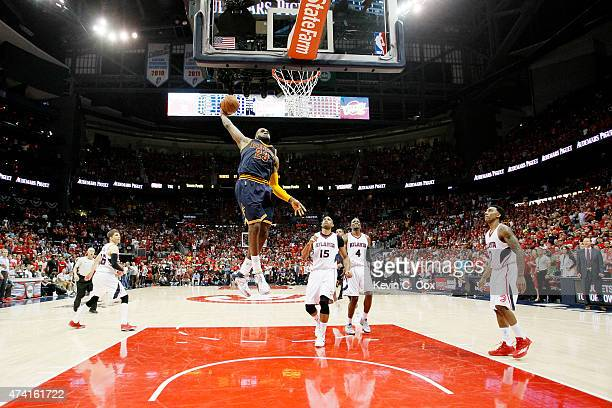LeBron James of the Cleveland Cavaliers dunks against the Atlanta Hawks in the second half during Game One of the Eastern Conference Finals of the...