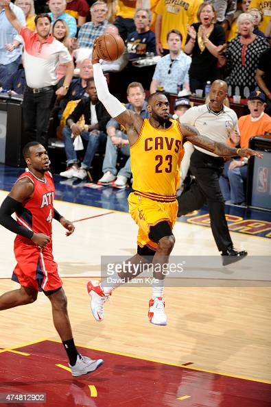LeBron James of the Cleveland Cavaliers dunks against the Atlanta Hawks in Game Four of the Eastern Conference Finals during the 2015 NBA Playoffs on...