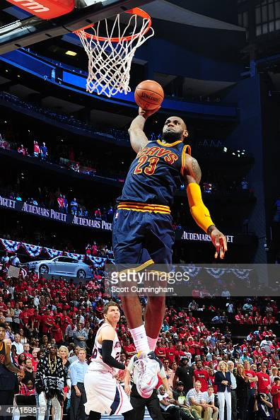 LeBron James of the Cleveland Cavaliers dunks against the Atlanta Hawks during Game One of the Eastern Conference Finals during the NBA Playoffs on...