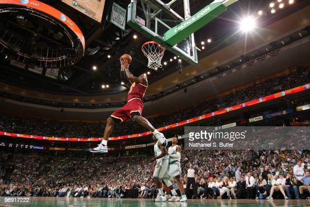 LeBron James of the Cleveland Cavaliers dunks against the Boston Celtics in Game Three of the Eastern Conference Semifinals during the 2010 NBA...