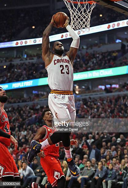 LeBron James of the Cleveland Cavaliers dunks against the Chicago Bulls at the United Center on April 9 2016 in Chicago Illinois NOTE TO USER User...