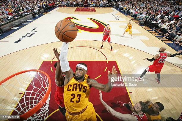 LeBron James of the Cleveland Cavaliers dunks against the Chicago Bulls in Game Two of the Eastern Conference Semifinals during the 2015 NBA Playoffs...