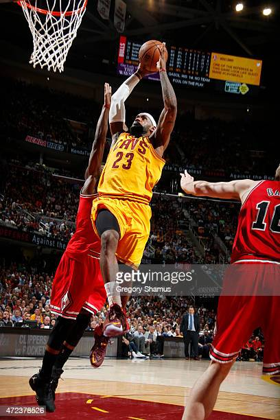 LeBron James of the Cleveland Cavaliers dunks against the Chicago Bulls during Game Two of the Eastern Conference Semifinals during the NBA Playoffs...