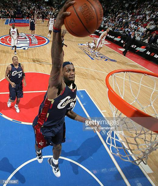 LeBron James of the Cleveland Cavaliers dunks against the Detroit Pistons in Game One of the Eastern Conference Finals during the 2007 NBA Playoffs...