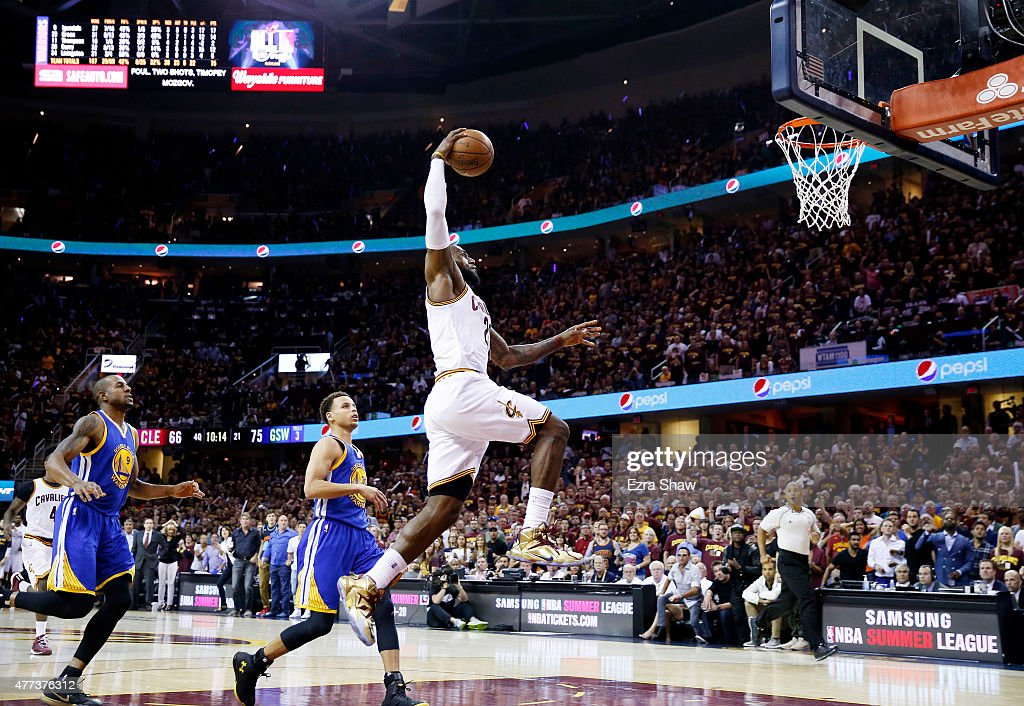 LeBron James of the Cleveland Cavaliers dunks against the Golden State Warriors in the fourth quarter during Game Six of the 2015 NBA Finals at...