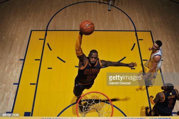 LeBron James of the Cleveland Cavaliers dunks against the Golden State Warriors in Game One of the 2017 NBA Finals on June 1 2017 at Oracle Arena in...