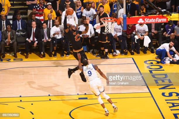 LeBron James of the Cleveland Cavaliers dunks against the Golden State Warriors in Game Two of the 2017 NBA Finals on June 4 2017 at Oracle Arena in...