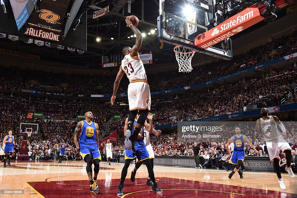LeBron James #23 of the Cleveland Cavaliers dunks against the Golden State Warriors during Game Three of the 2016 NBA Finals on June 8, 2016 at The Quicken Loans Arena in Cleveland, Ohio.