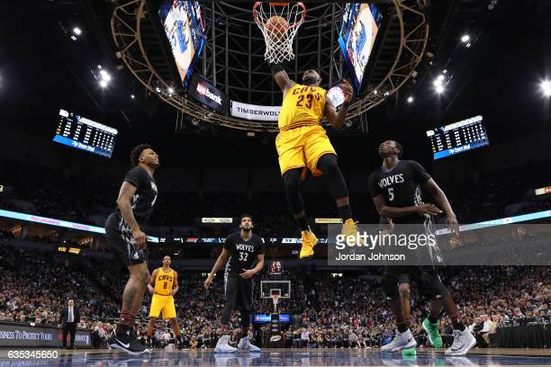 LeBron James of the Cleveland Cavaliers dunks against the Minnesota Timberwolves on February 14 2017 at Target Center in Minneapolis Minnesota NOTE...