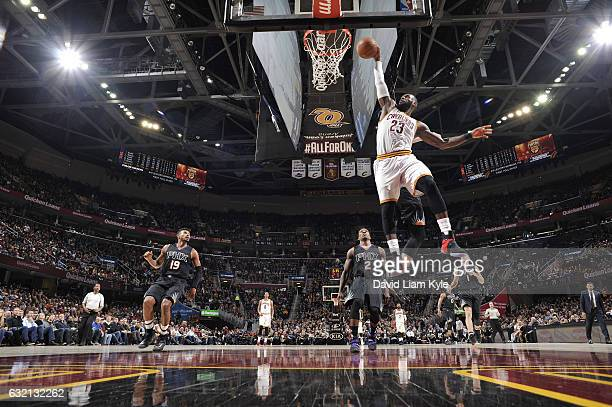 LeBron James of the Cleveland Cavaliers dunks against the Phoenix Suns on January 19 2017 at Quicken Loans Arena in Cleveland Ohio NOTE TO USER User...