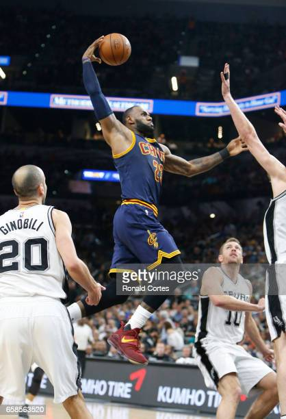 LeBron James of the Cleveland Cavaliers dunks against the San Antonio Spurs at ATT Center on March 27 2017 in San Antonio Texas NOTE TO USER User...