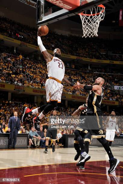 LeBron James of the Cleveland Cavaliers dunks against the Toronto Raptors during Game Two of the Eastern Conference Semifinals of the 2017 NBA...