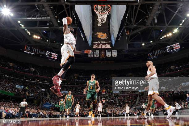 LeBron James of the Cleveland Cavaliers dunks against the Utah Jazz during the game on March 16 2017 at Quicken Loans Arena in Cleveland Ohio NOTE TO...