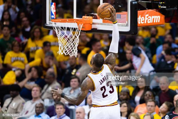 LeBron James of the Cleveland Cavaliers dunks during the second half of Game One of the NBA Eastern Conference semifinals against the Toronto Raptors...