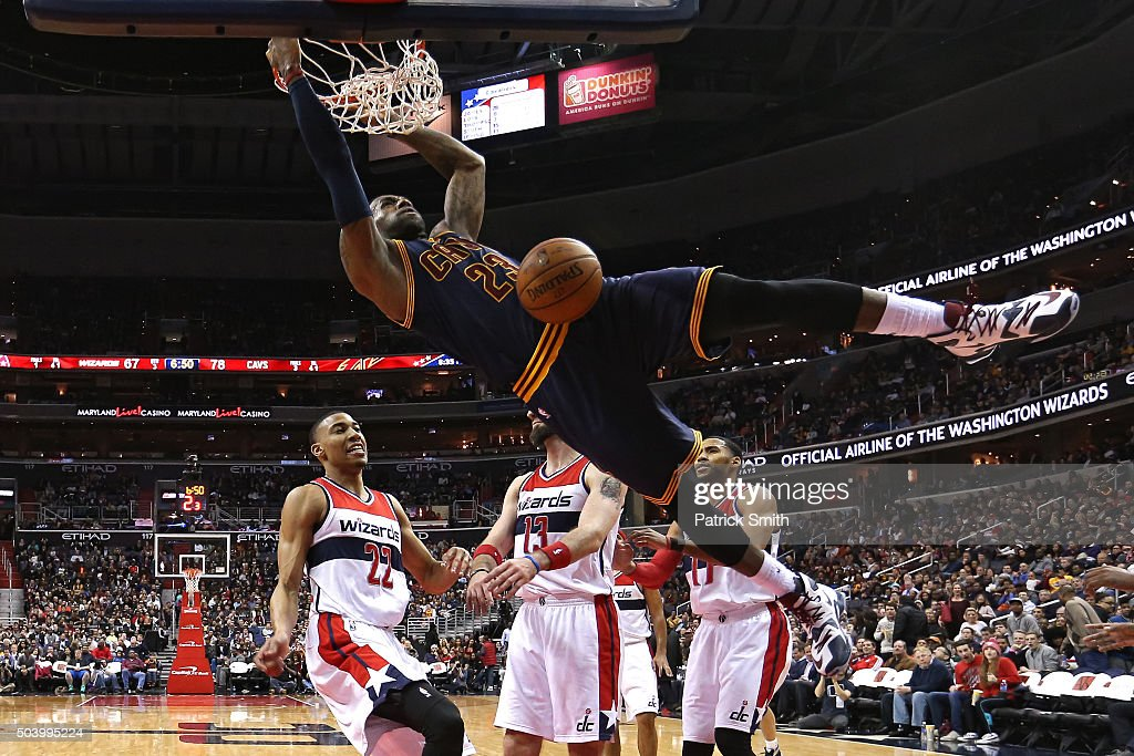 <a gi-track='captionPersonalityLinkClicked' href=/galleries/search?phrase=LeBron+James&family=editorial&specificpeople=201474 ng-click='$event.stopPropagation()'>LeBron James</a> #23 of the Cleveland Cavaliers dunks in front of <a gi-track='captionPersonalityLinkClicked' href=/galleries/search?phrase=Otto+Porter+Jr.&family=editorial&specificpeople=10019906 ng-click='$event.stopPropagation()'>Otto Porter Jr.</a> #22 of the Washington Wizards and teammates during the second half at Verizon Center on January 6, 2016 in Washington, DC. The Cleveland Cavaliers won, 121-115.