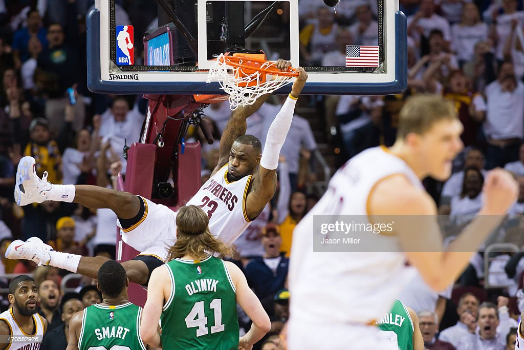 LeBron James of the Cleveland Cavaliers dunks in the second half against the Boston Celtics in Game Two of the Eastern Conference Quarterfinals...