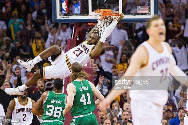 LeBron James of the Cleveland Cavaliers dunks in the second half against the Boston Celtics during Game Two in the Eastern Conference Quarterfinals...