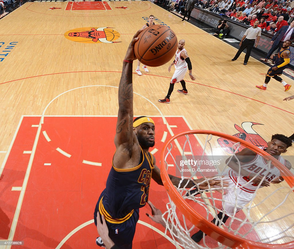 Lebron James #23 of the Cleveland Cavaliers dunks the ball against the Chicago Bulls at the United Center During Game Two of the Eastern Conference Semifinals during the 2015 NBA Playoffs on May 8, 2015 in Chicago, Illinois