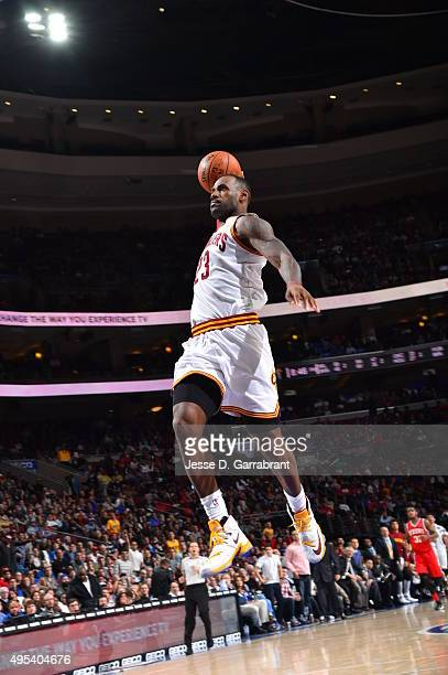 LeBron James of the Cleveland Cavaliers dunks the ball against the Philadelphia 76ers at Wells Fargo Center on November 2 2015 in Philadelphia...