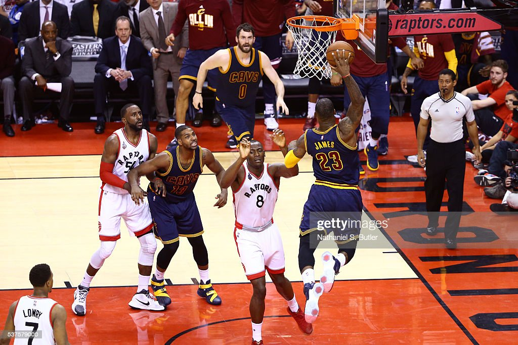 LeBron James of the Cleveland Cavaliers dunks the ball against the Toronto Raptors during Game Six of the NBA Eastern Conference Finals at Air Canada...