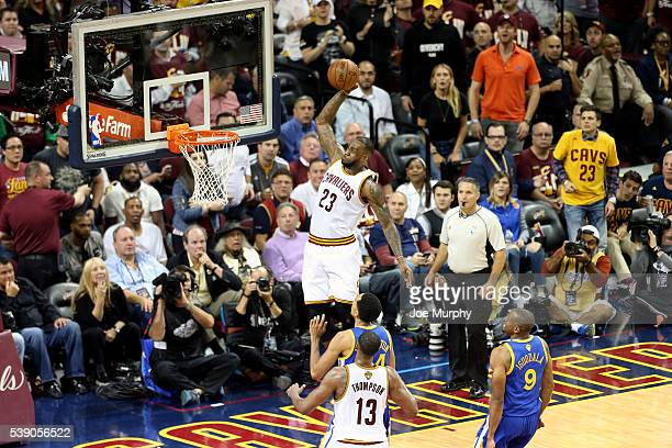 LeBron James of the Cleveland Cavaliers dunks the ball against the Golden State Warriors in Game Three of the 2016 NBA Finals on June 8 2016 at The...
