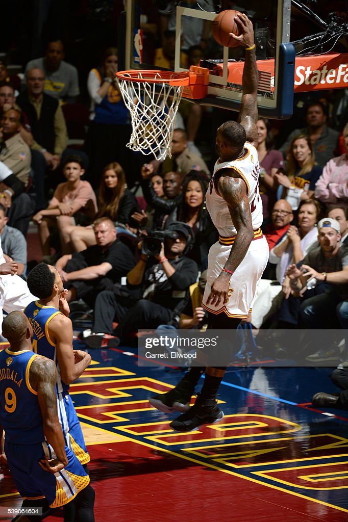 LeBron James #23 of the Cleveland Cavaliers dunks the ball against the Golden State Warriors during the 2016 NBA Finals Game Three on June 8, 2016 at Quicken Loans Arena in Cleveland, Ohio.