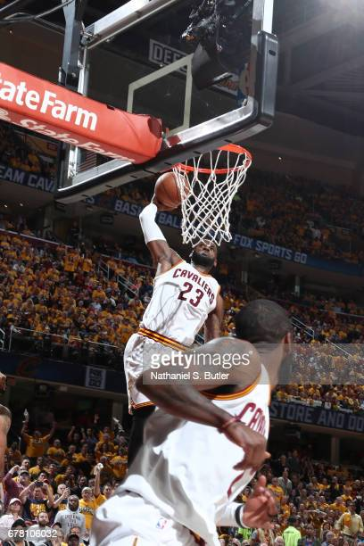 LeBron James of the Cleveland Cavaliers dunks the ball against the Toronto Raptorsduring Game Two of the Eastern Conference Semifinals of the 2017...