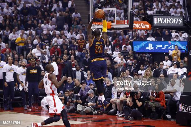 LeBron James of the Cleveland Cavaliers dunks the ball against the Toronto Raptors in Game Four of the Eastern Conference Semifinals during the 2017...
