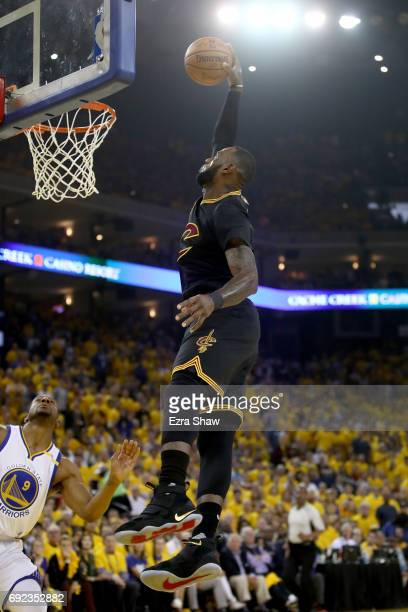 LeBron James of the Cleveland Cavaliers dunks the ball against the Golden State Warriors in Game 2 of the 2017 NBA Finals at ORACLE Arena on June 4...