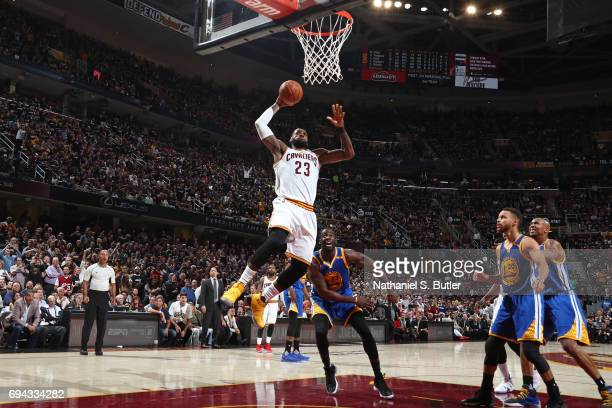 LeBron James of the Cleveland Cavaliers dunks the ball against the Golden State Warriors in Game Four of the 2017 NBA Finals on June 9 2017 at...
