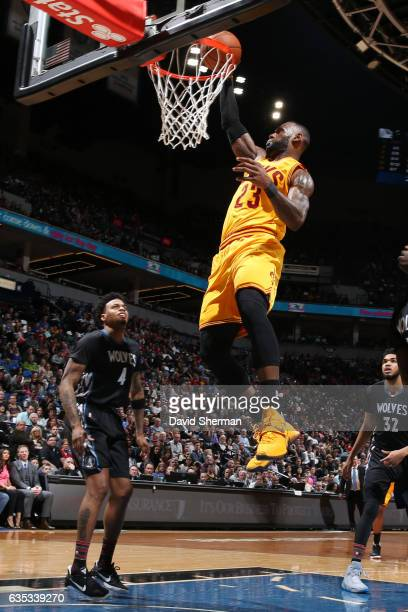 LeBron James of the Cleveland Cavaliers dunks the ball during a game against the Minnesota Timberwolves on February 14 2017 at the Target Center in...