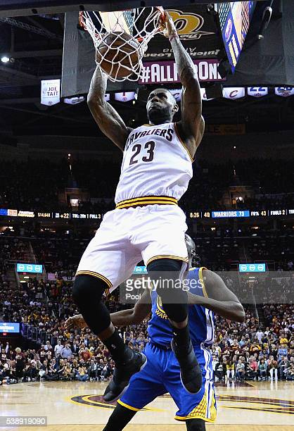 LeBron James of the Cleveland Cavaliers dunks the ball during the second half against the Golden State Warriors in Game 3 of the 2016 NBA Finals at...