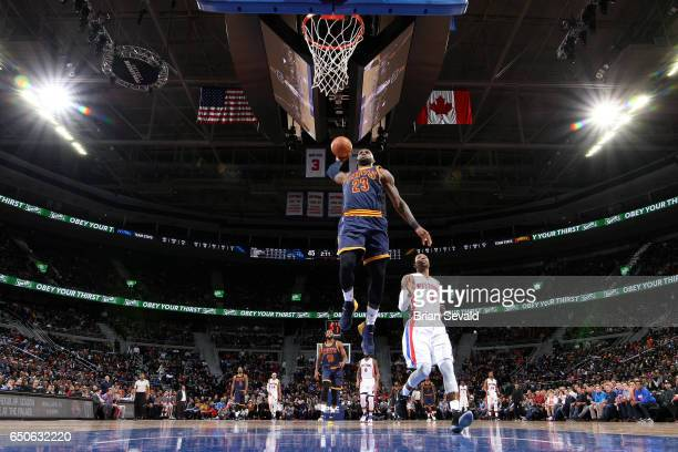 LeBron James of the Cleveland Cavaliers dunks the ball during the game against the Detroit Pistons on March 9 2017 at The Palace of Auburn Hills in...
