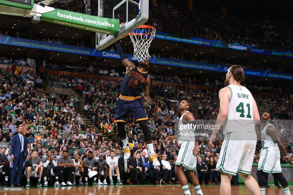 LeBron James #23 of the Cleveland Cavaliers dunks the ball during the game against the Boston Celtics on March 1, 2017 at the TD Garden in Boston, Massachusetts.